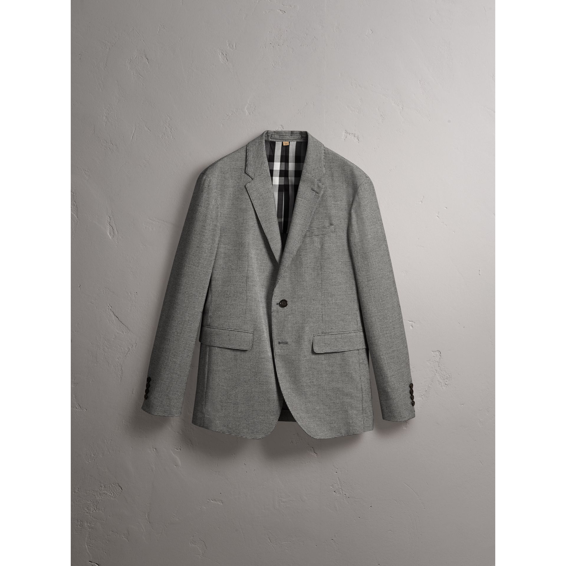 Micro Houndstooth Cotton Wool Blend Blazer in Charcoal - Men | Burberry Australia - gallery image 4