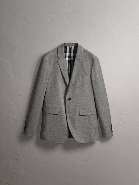 Micro Houndstooth Cotton Wool Blend Blazer in Charcoal - Men | Burberry - cell image 3