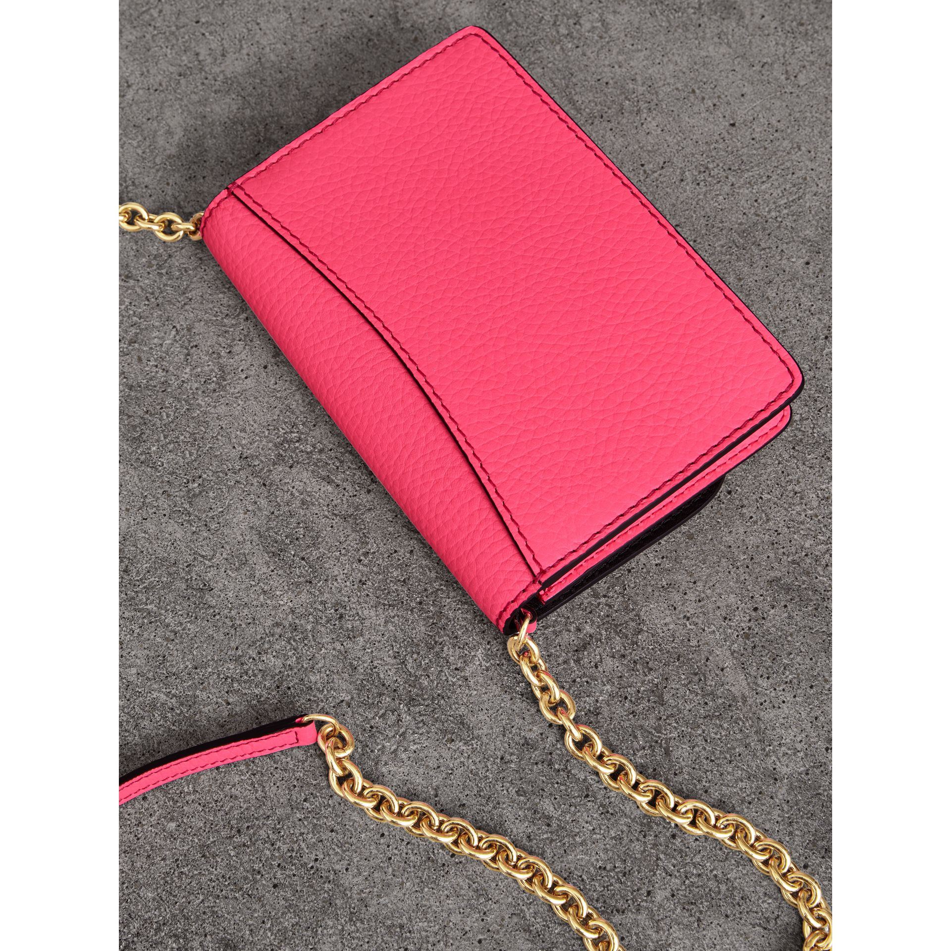 Embossed Leather Wallet with Detachable Strap in Bright Pink - Women | Burberry United Kingdom - gallery image 4