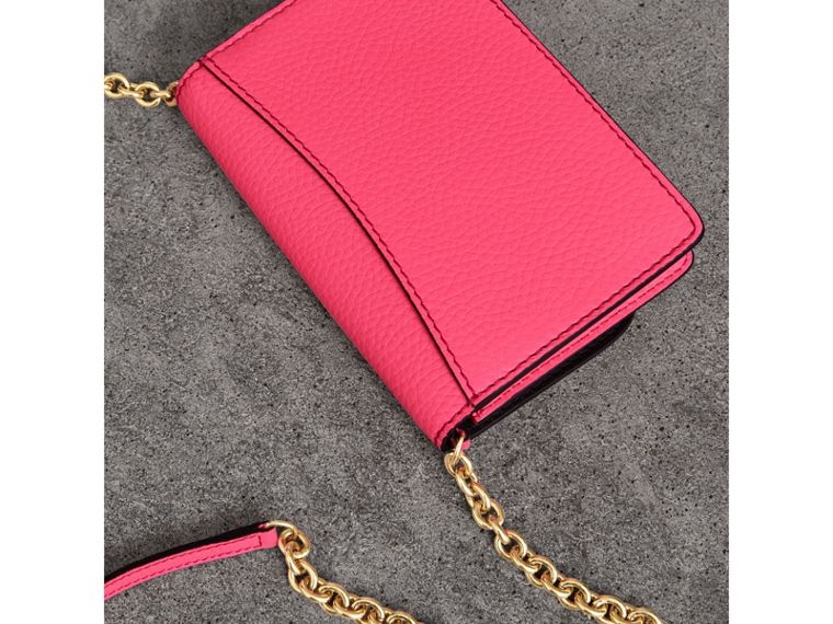 Embossed Leather Wallet with Detachable Strap in Bright Pink - Women | Burberry - cell image 4