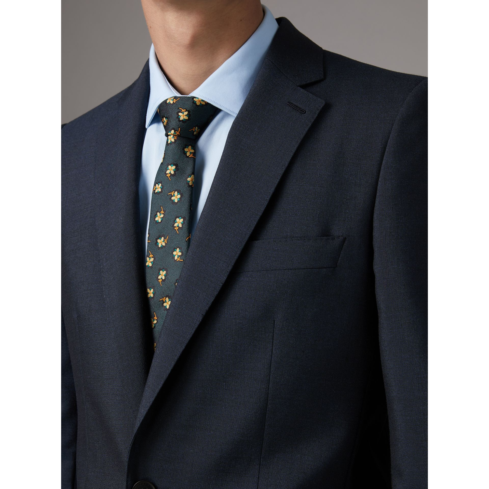 Slim Fit Wool Half-canvas Tuxedo in Navy - Men | Burberry United Kingdom - gallery image 2