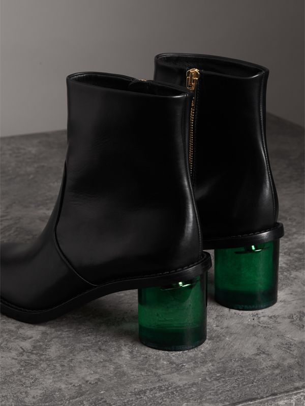Two-tone Leather Block-heel Boots in Black - Women | Burberry United Kingdom - cell image 3