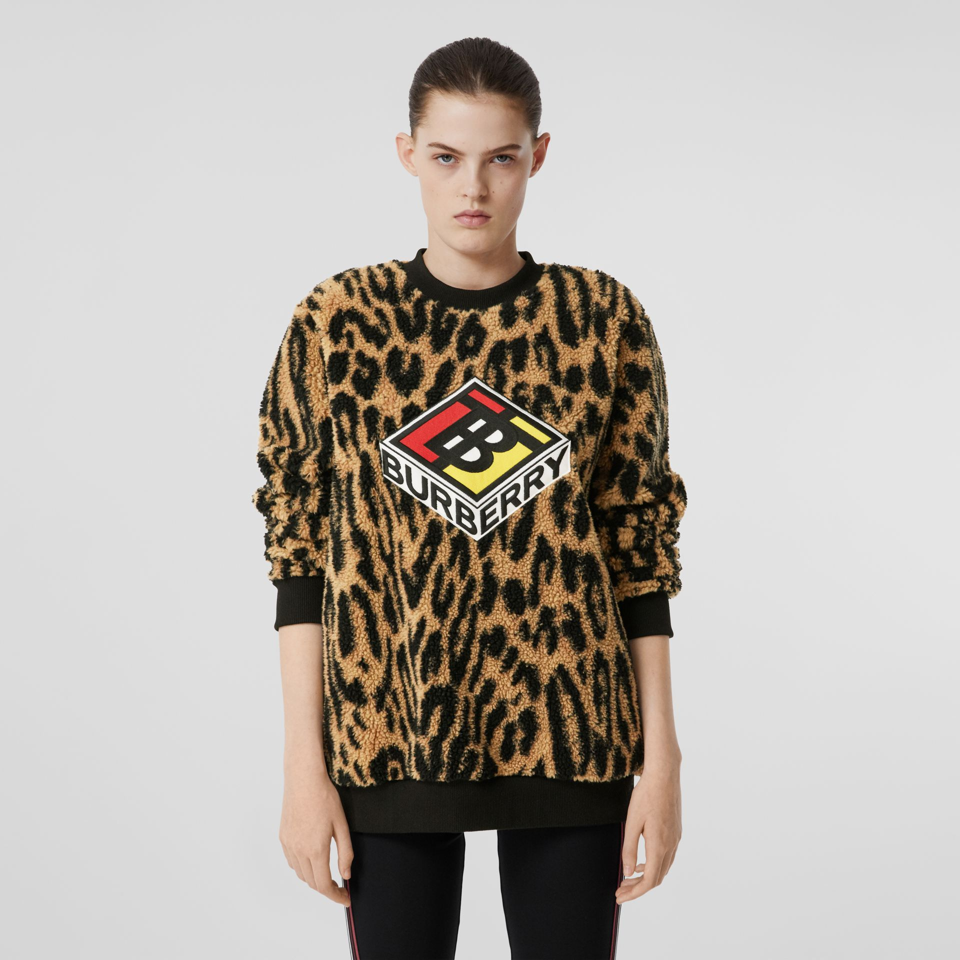 Logo Graphic Leopard Fleece Jacquard Sweatshirt in Dark Mustard - Women | Burberry - gallery image 4