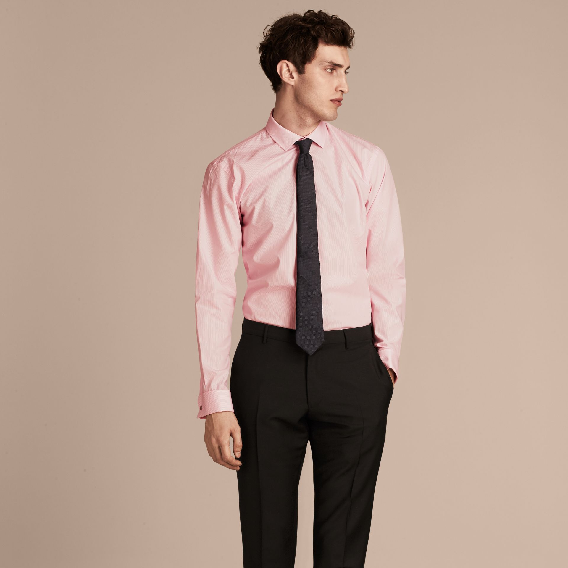City pink Modern Fit Double-cuff Striped Cotton Poplin Shirt - gallery image 6