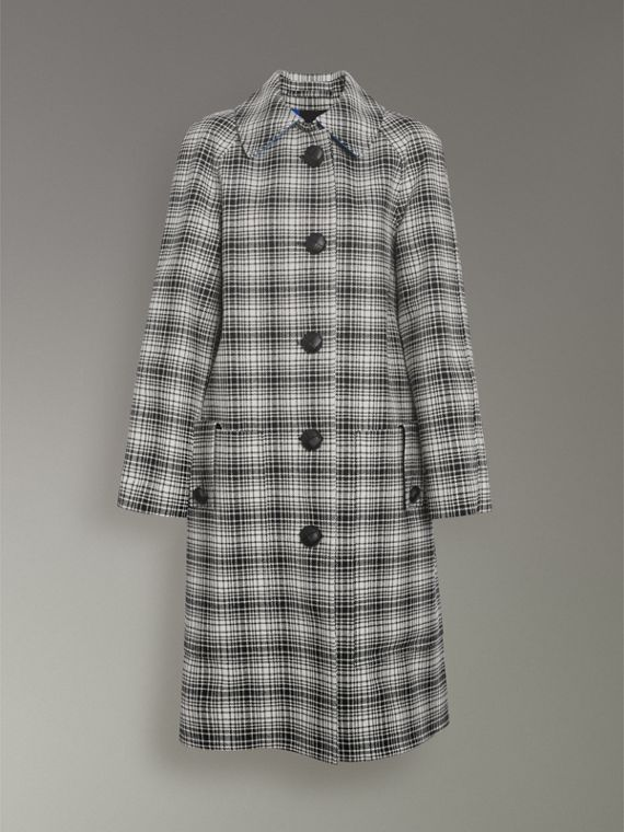 Check Wool Tailored Coat in Black/white - Women | Burberry - cell image 3