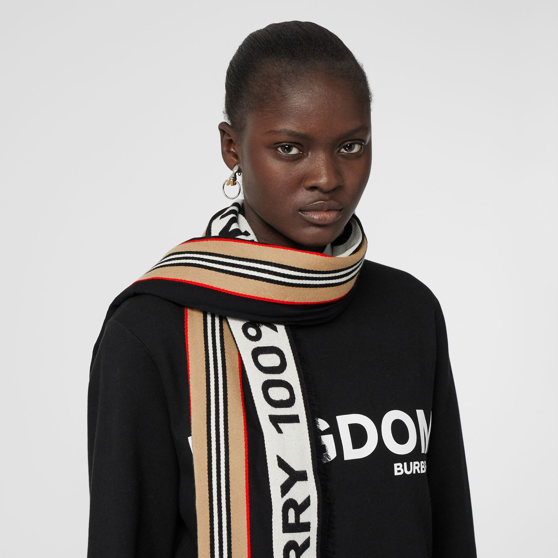 Icon Stripe Logo Detail Cotton Scarf in Black | Burberry Australia - gallery image 2
