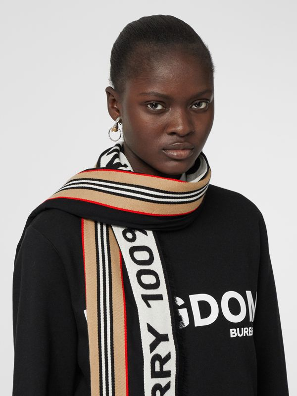 Icon Stripe Logo Detail Cotton Scarf in Black | Burberry Australia - cell image 2