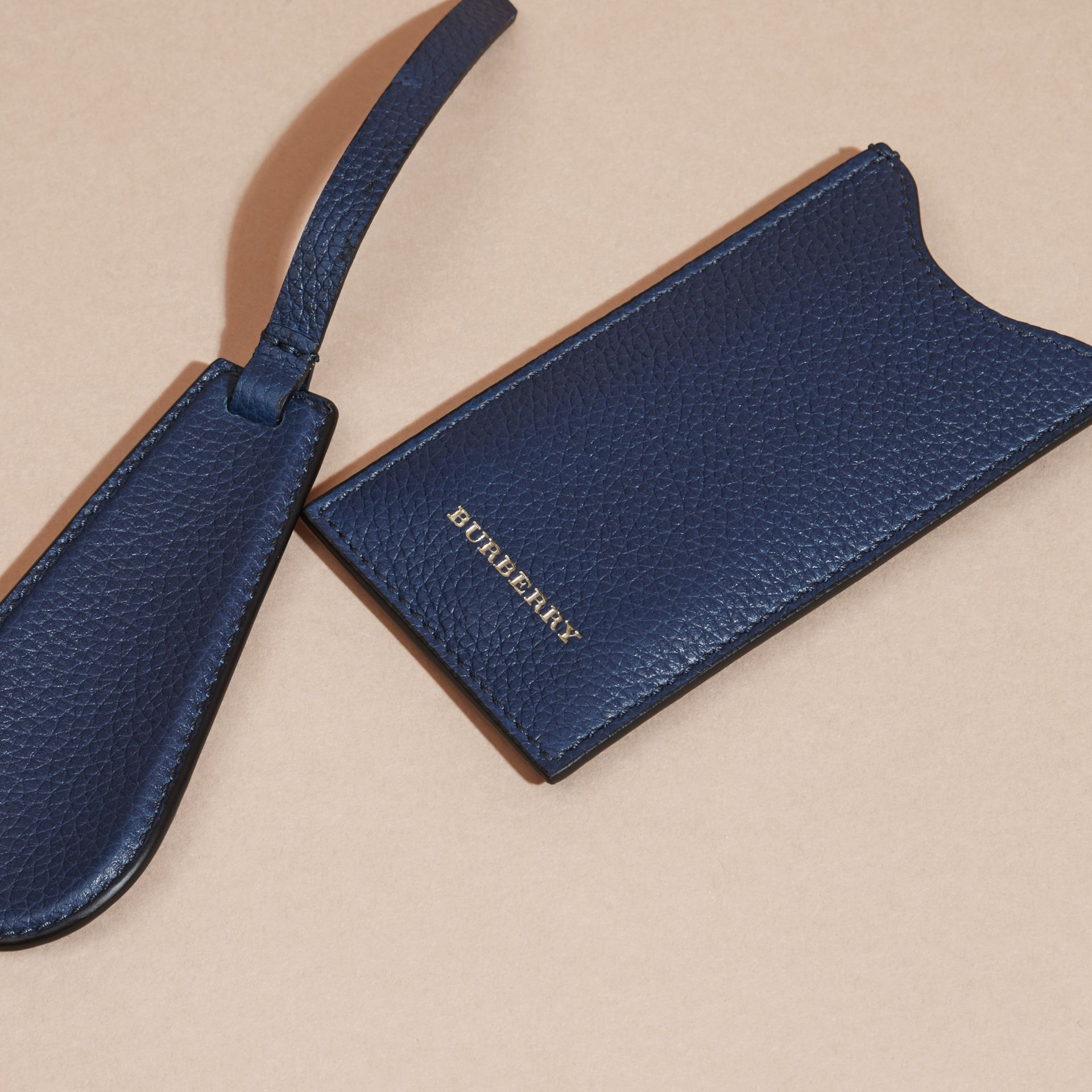 Bright navy Leather Shoe Horn Bright Navy - gallery image 2