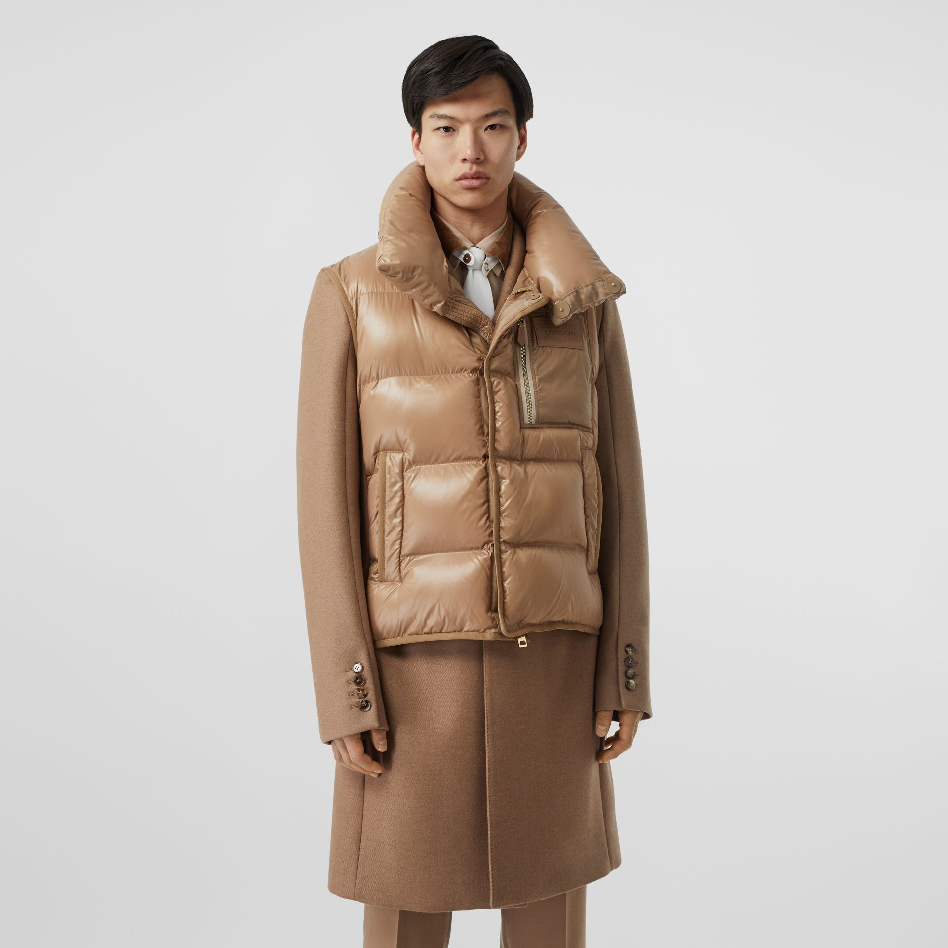 Down-filled Gilet Detail Camel Hair Tailored Coat - Men | Burberry - gallery image 4