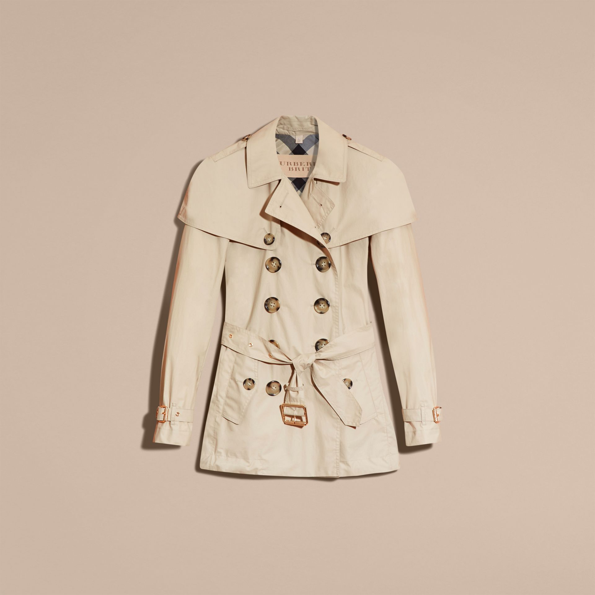 Stone Lightweight Cape Detail Cotton Trench Coat - gallery image 4
