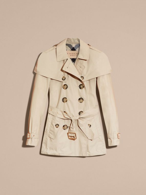 Stone Lightweight Cape Detail Cotton Trench Coat - cell image 3