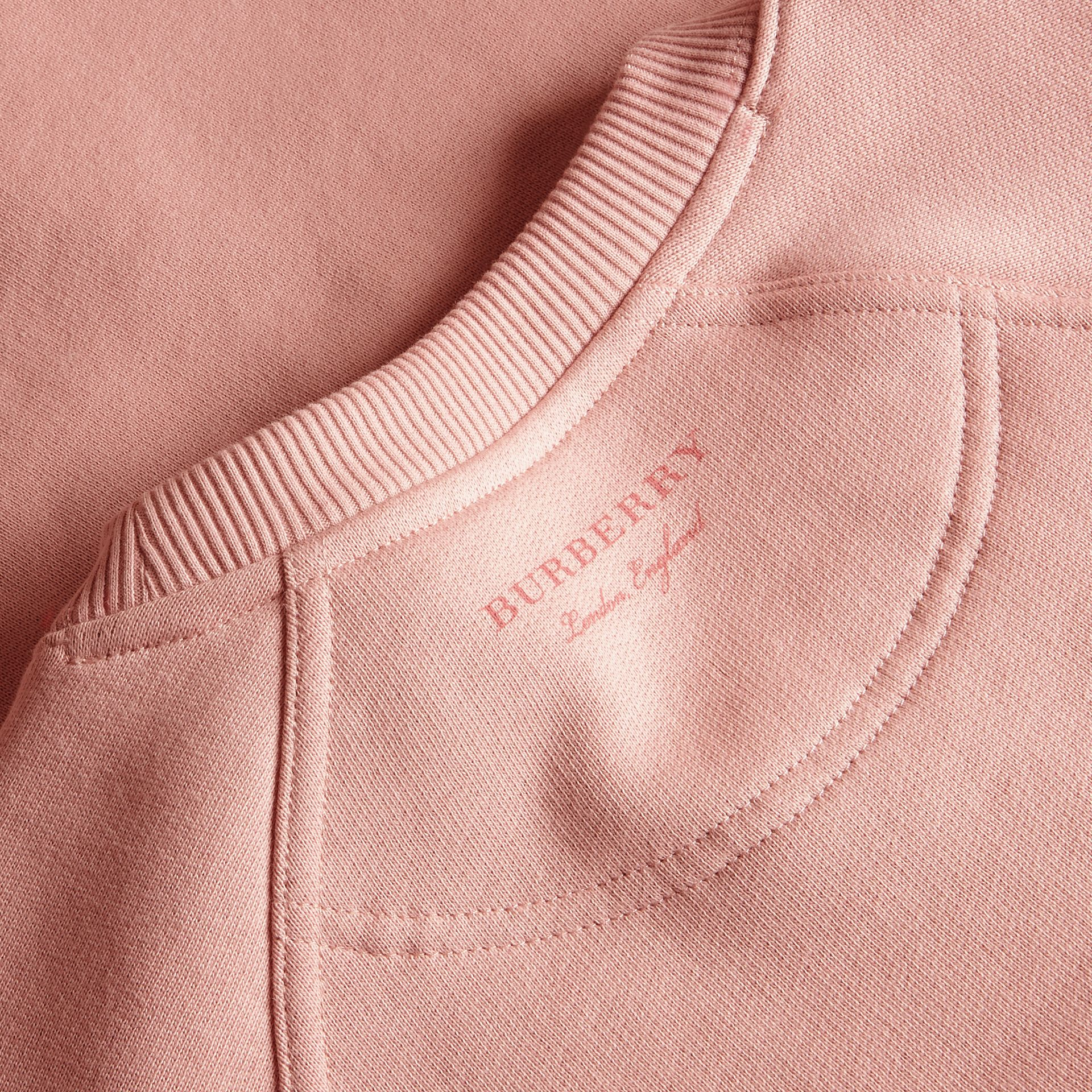 Sweat-shirt en jersey brossé avec manches cloches Rose Cendré - photo de la galerie 2