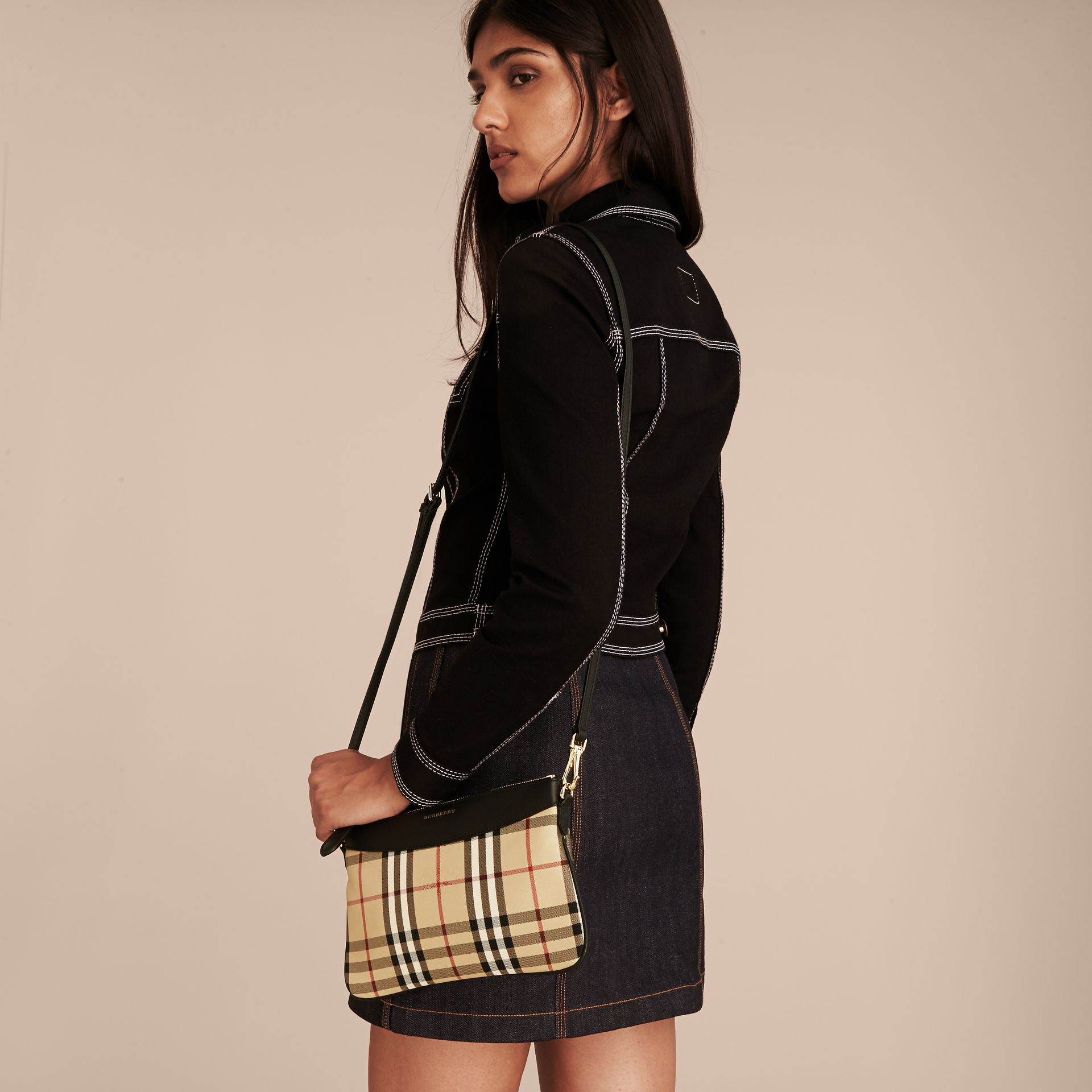 Horseferry Check and Leather Clutch Bag in Black - Women | Burberry Canada - gallery image 2
