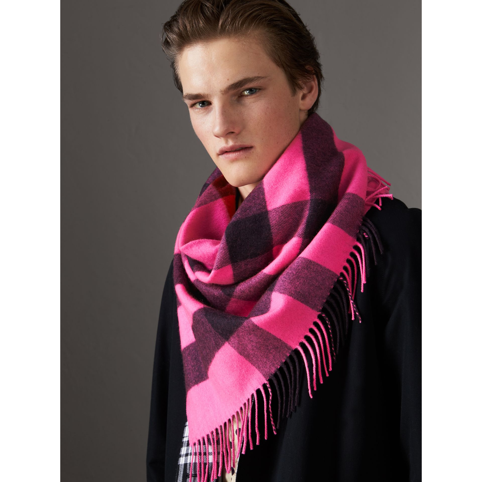The Burberry Bandana in Check Cashmere in Bright Rose Pink | Burberry - gallery image 9