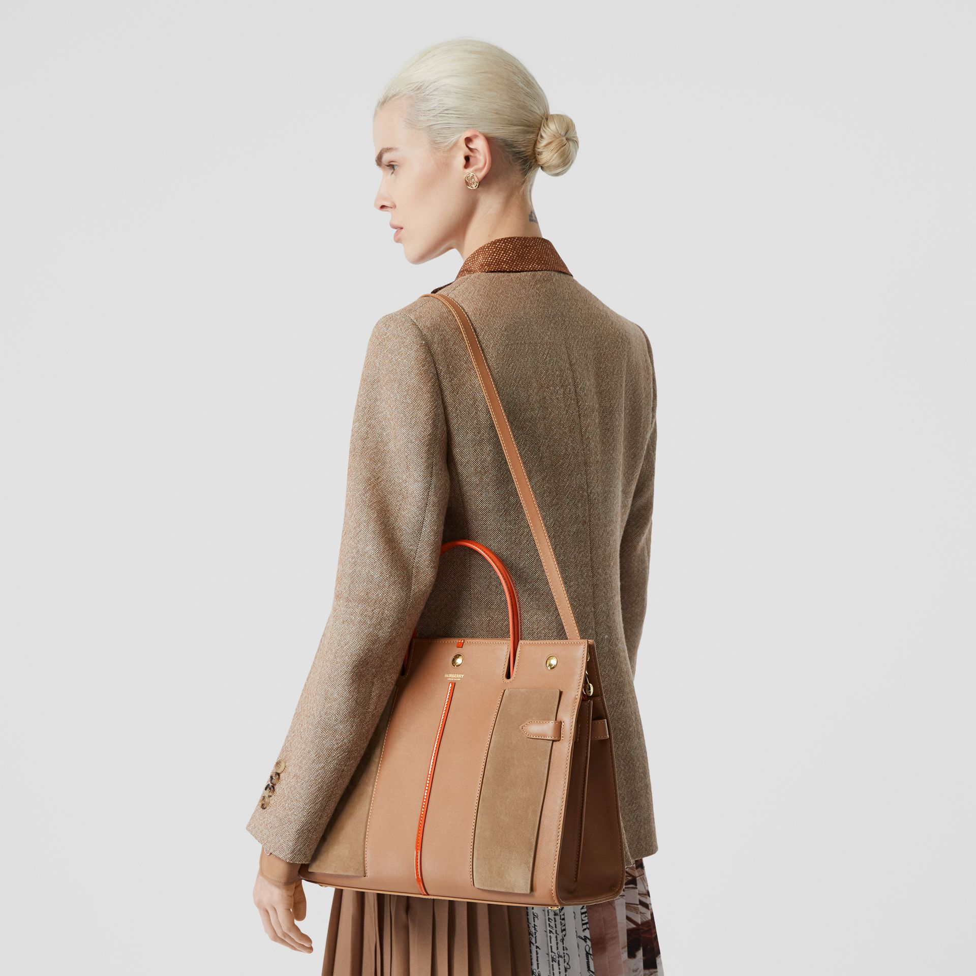 Medium Leather and Suede Title Bag in Warm Camel - Women | Burberry Australia - gallery image 2