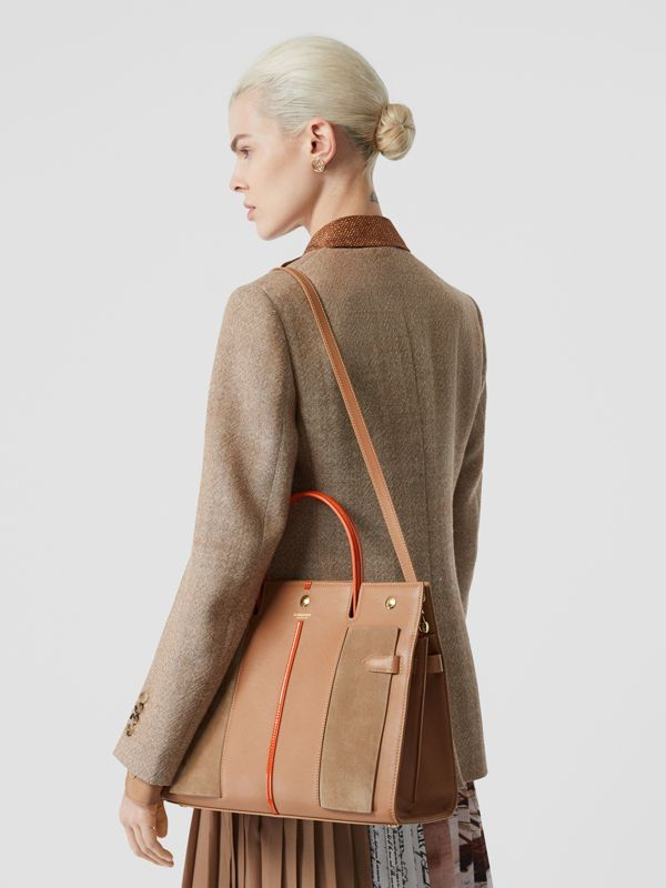 Medium Leather and Suede Title Bag in Warm Camel - Women | Burberry - cell image 2
