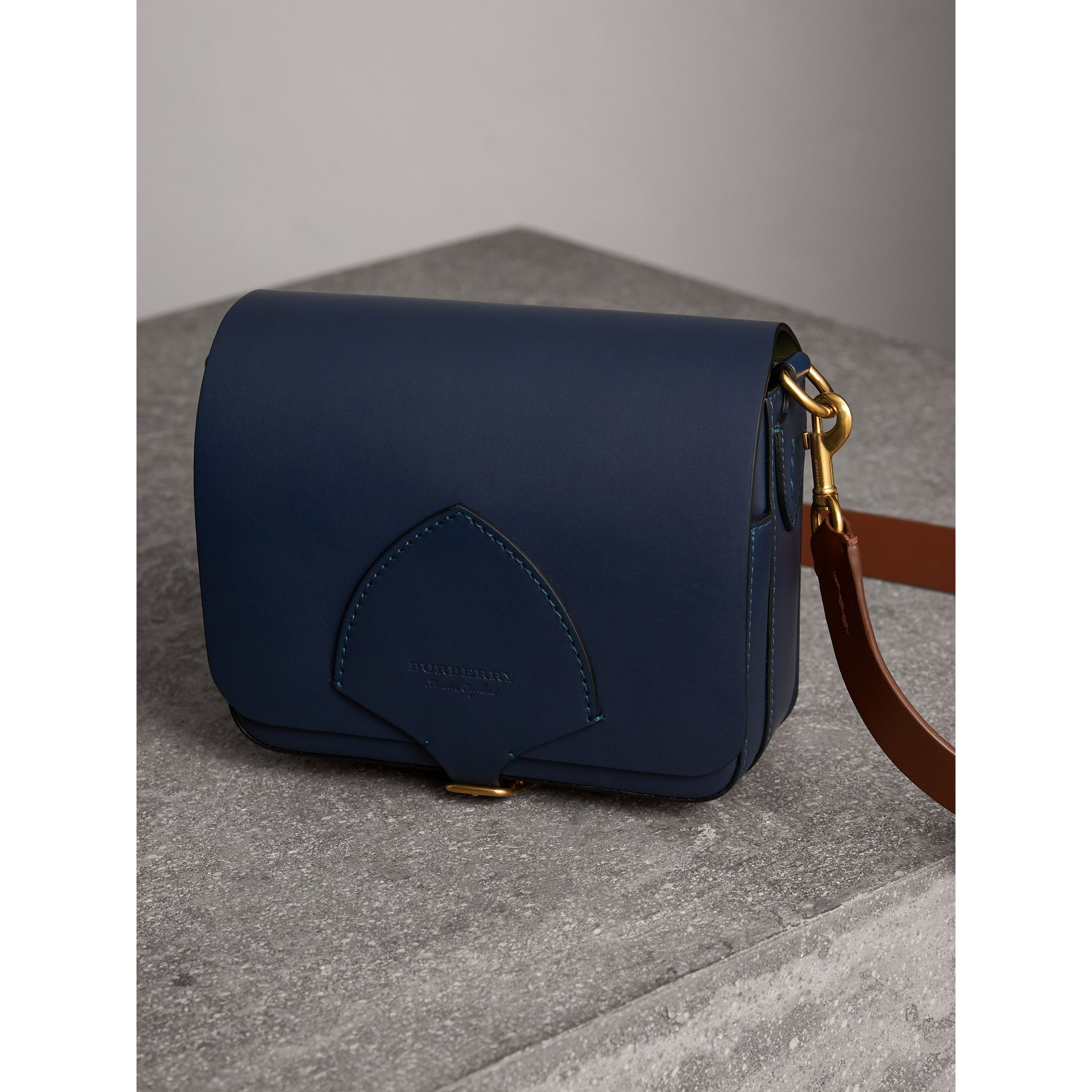The Square Satchel in Leather in Indigo - Women | Burberry - gallery image 5
