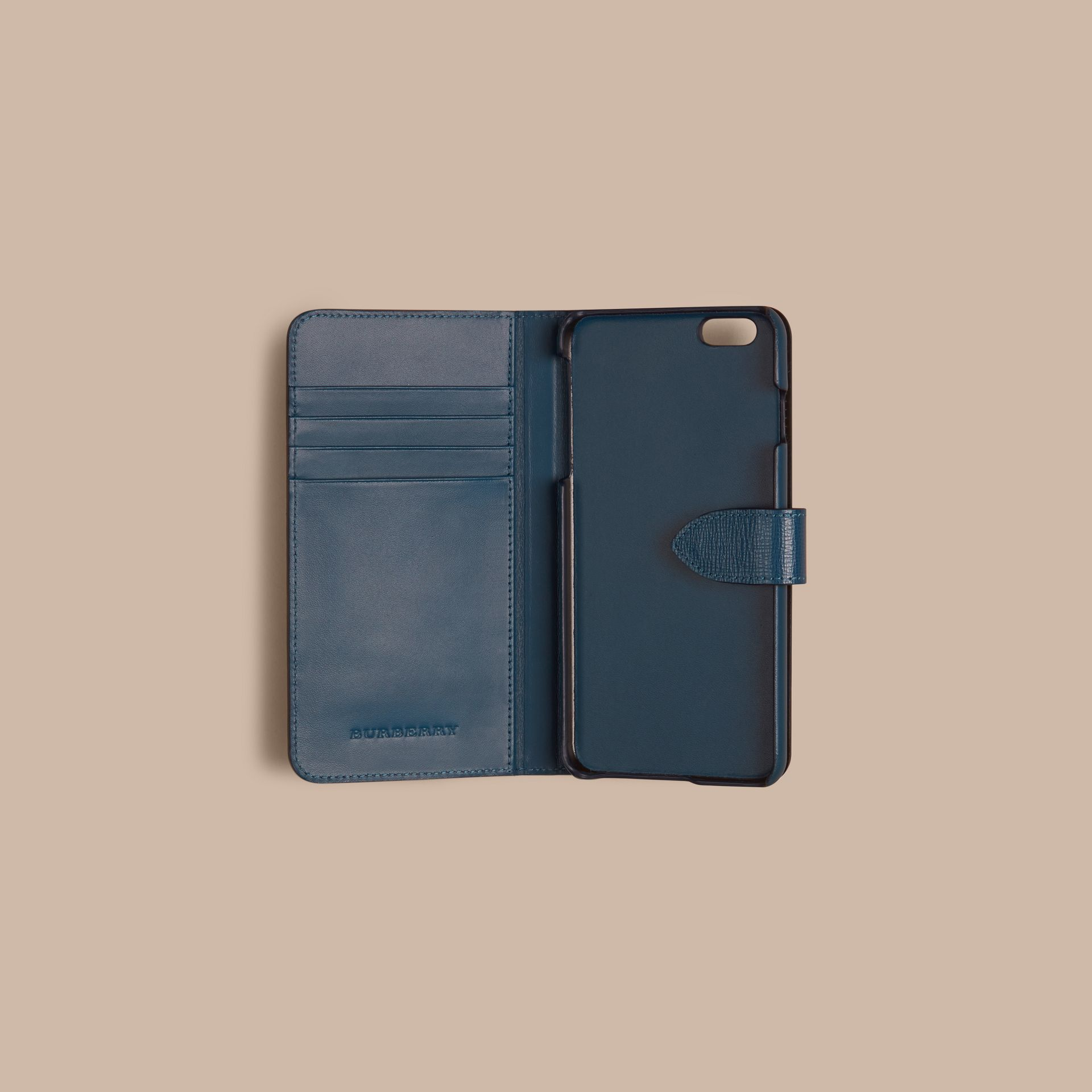 Blu minerale Custodia a libro in pelle London per iPhone 6 Plus Blu Minerale - immagine della galleria 2