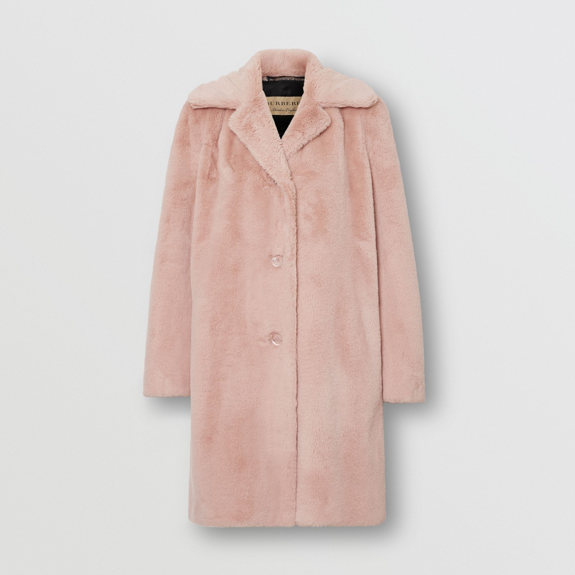 Faux Fur Single-breasted Coat in Pale Blush - Women | Burberry - gallery image 3