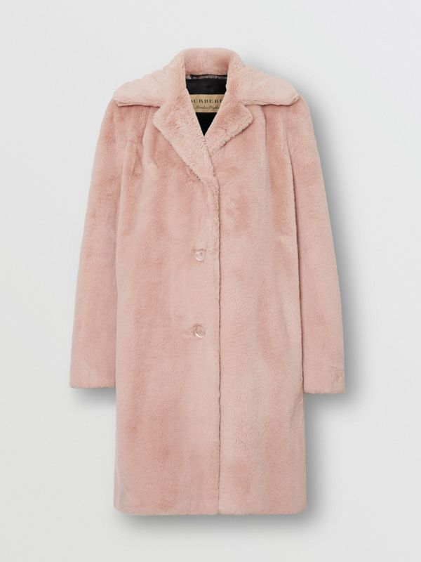Faux Fur Single-breasted Coat in Pale Blush - Women | Burberry - cell image 3