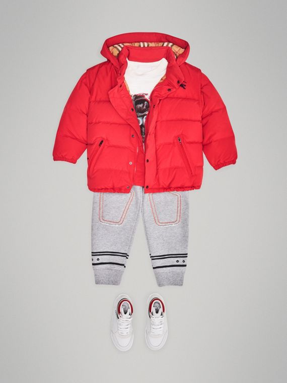 Detachable Hood Down-filled Puffer Jacket in Bright Red
