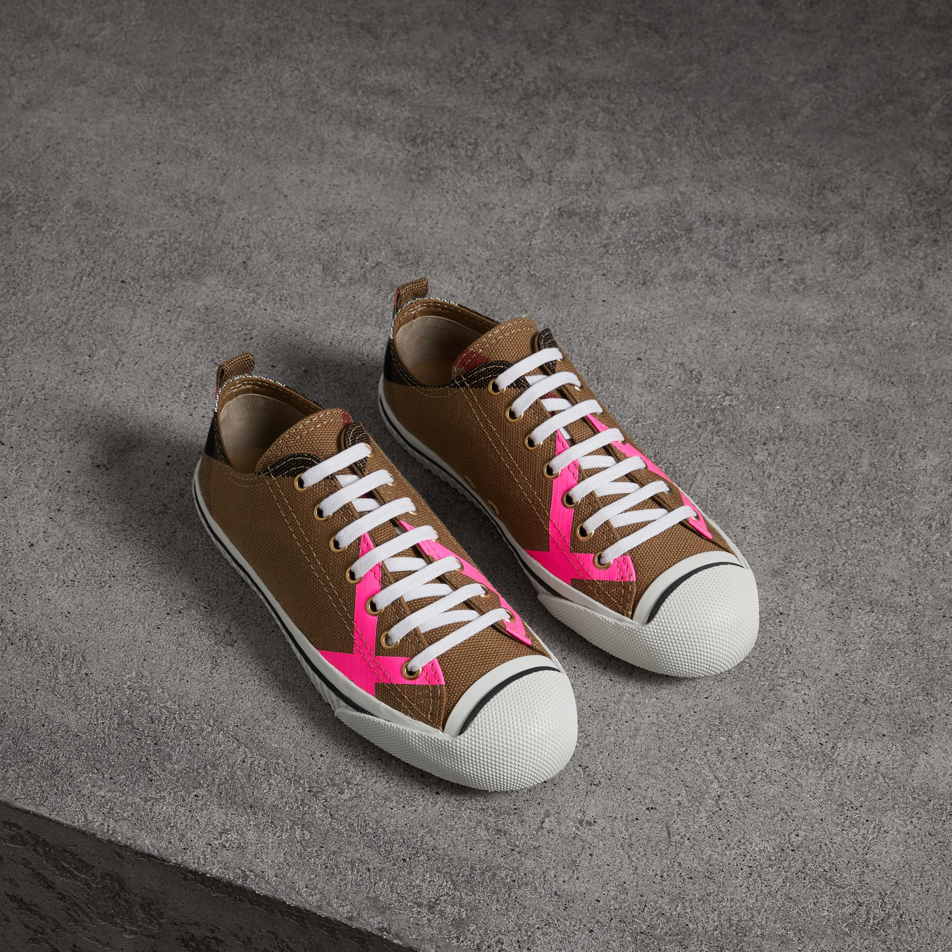 Canvas Check and Leather Sneakers in Classic/neon Pink - Women | Burberry Singapore - gallery image 0