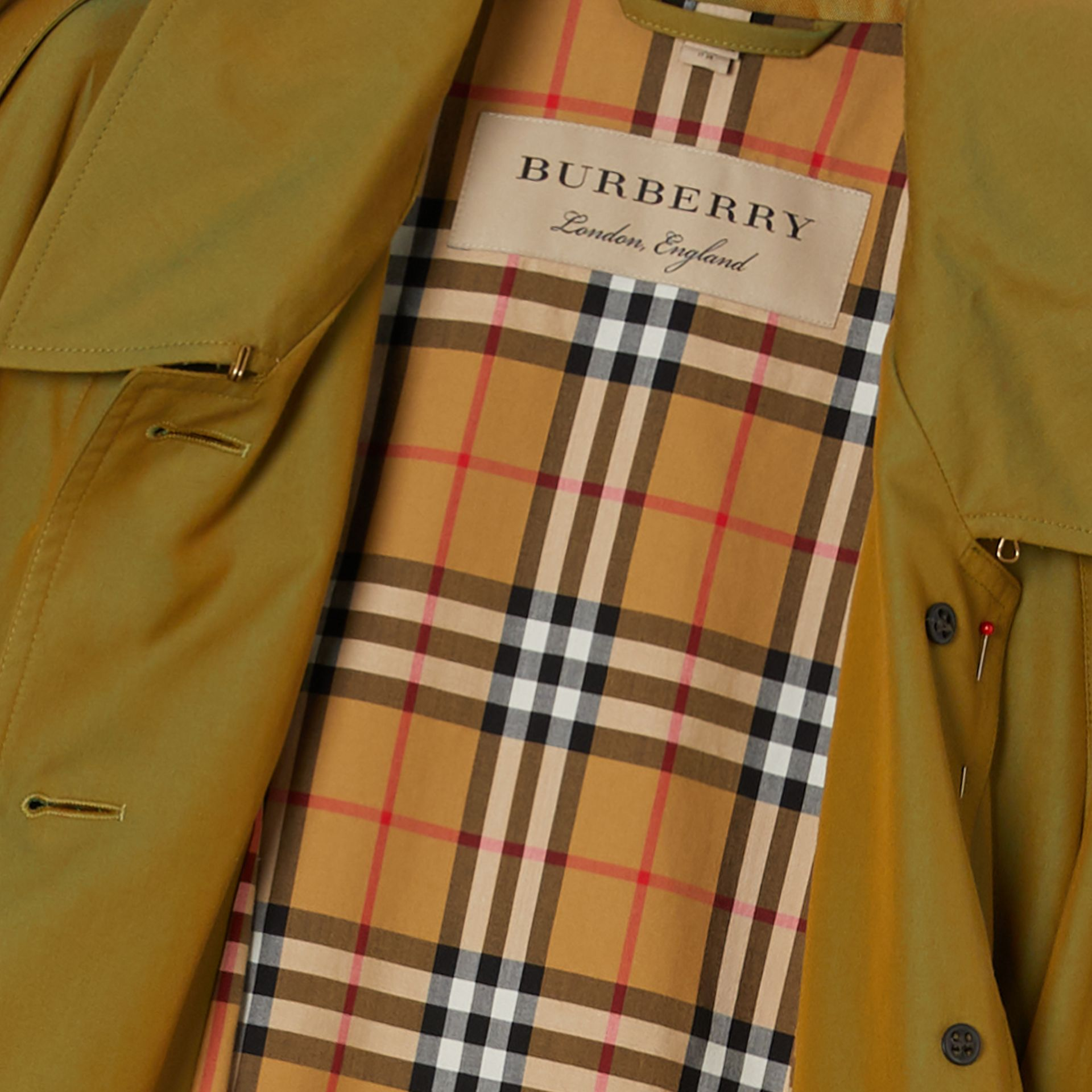 Side-slit Tropical Gabardine Trench Coat in Green Ochre - Women | Burberry Australia - gallery image 1
