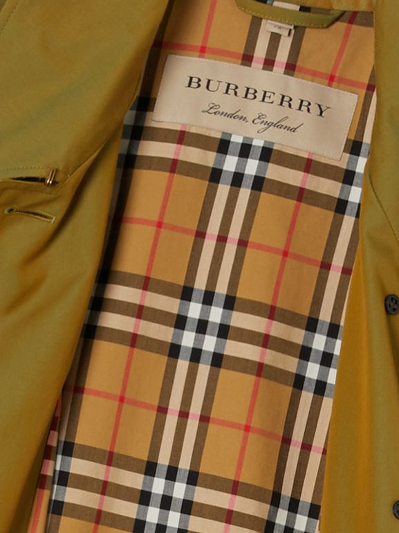 Side-slit Tropical Gabardine Trench Coat in Green Ochre - Women | Burberry Australia - cell image 1