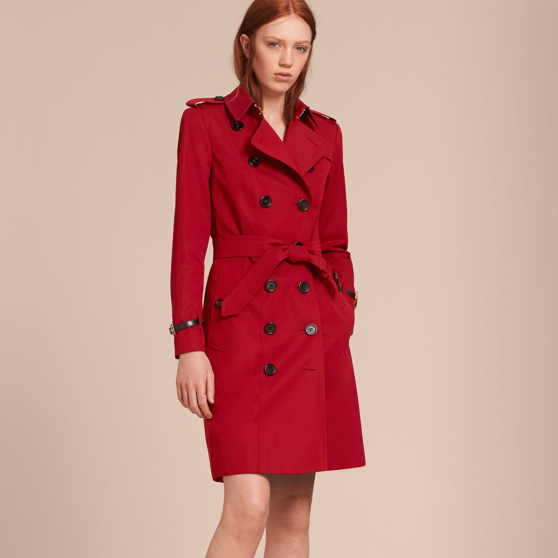 Leather Trim Cotton Gabardine Trench Coat in Parade Red - gallery image 7