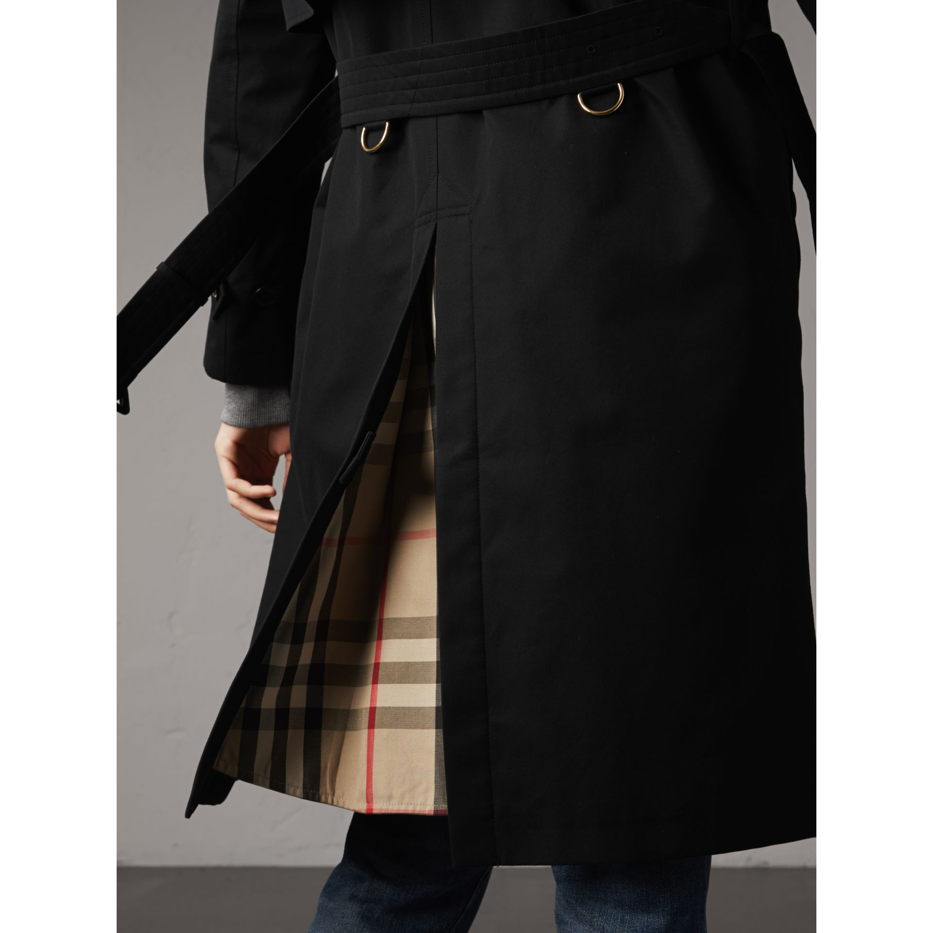 Resin Button Cotton Gabardine Trench Coat in Black - Women | Burberry - gallery image 6