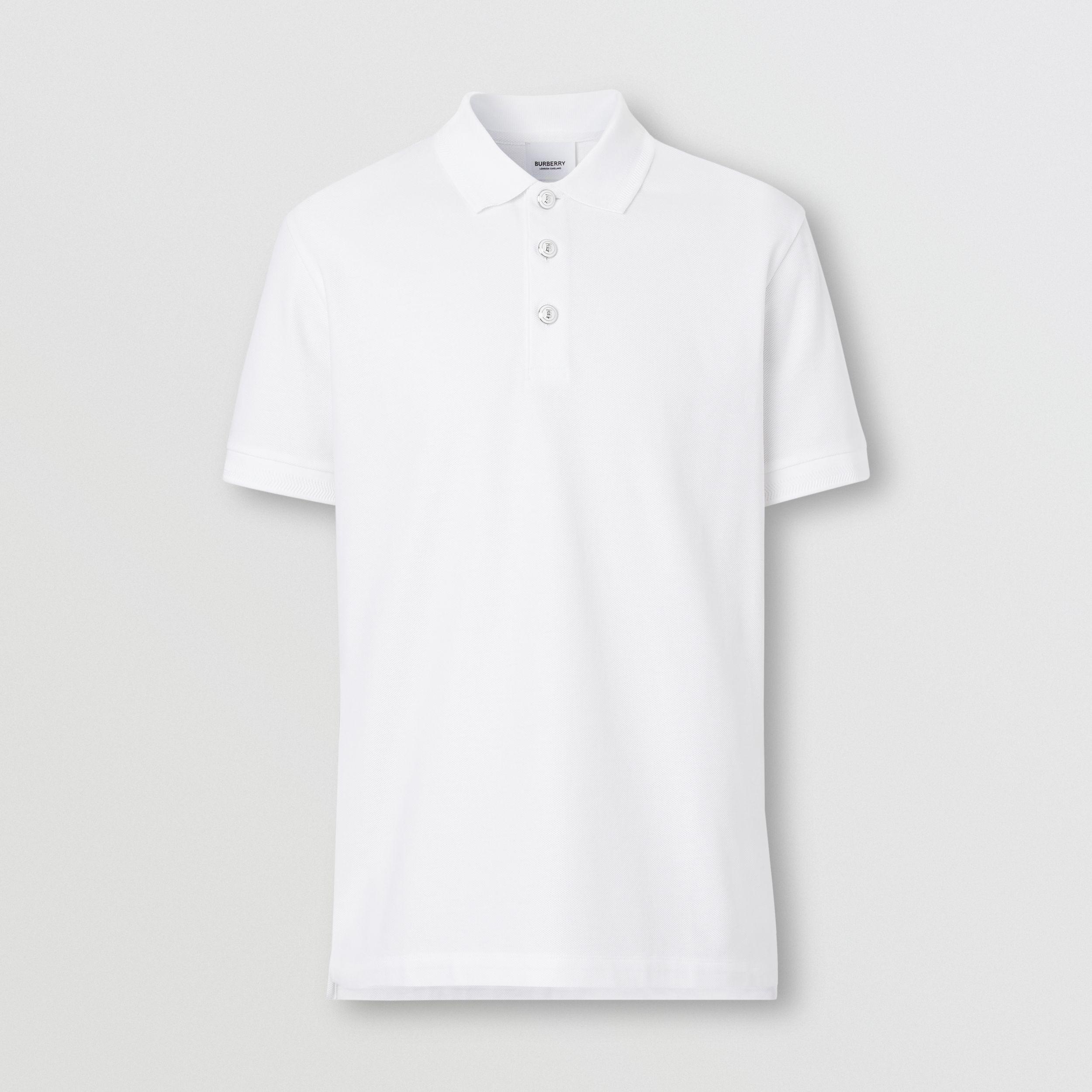 Cotton Piqué Polo Shirt in White - Men | Burberry - 4
