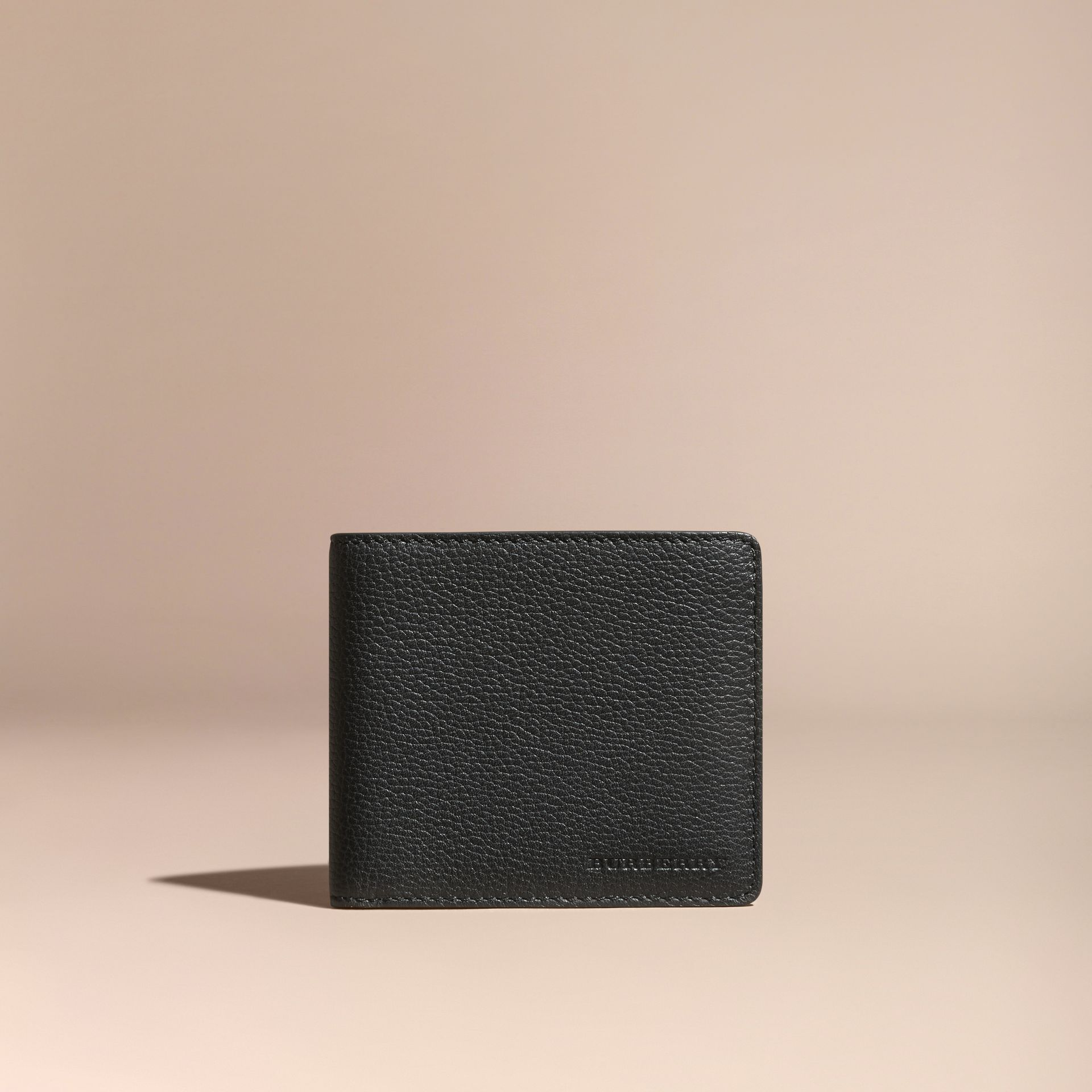 Black Leather Folding Wallet Black - gallery image 6