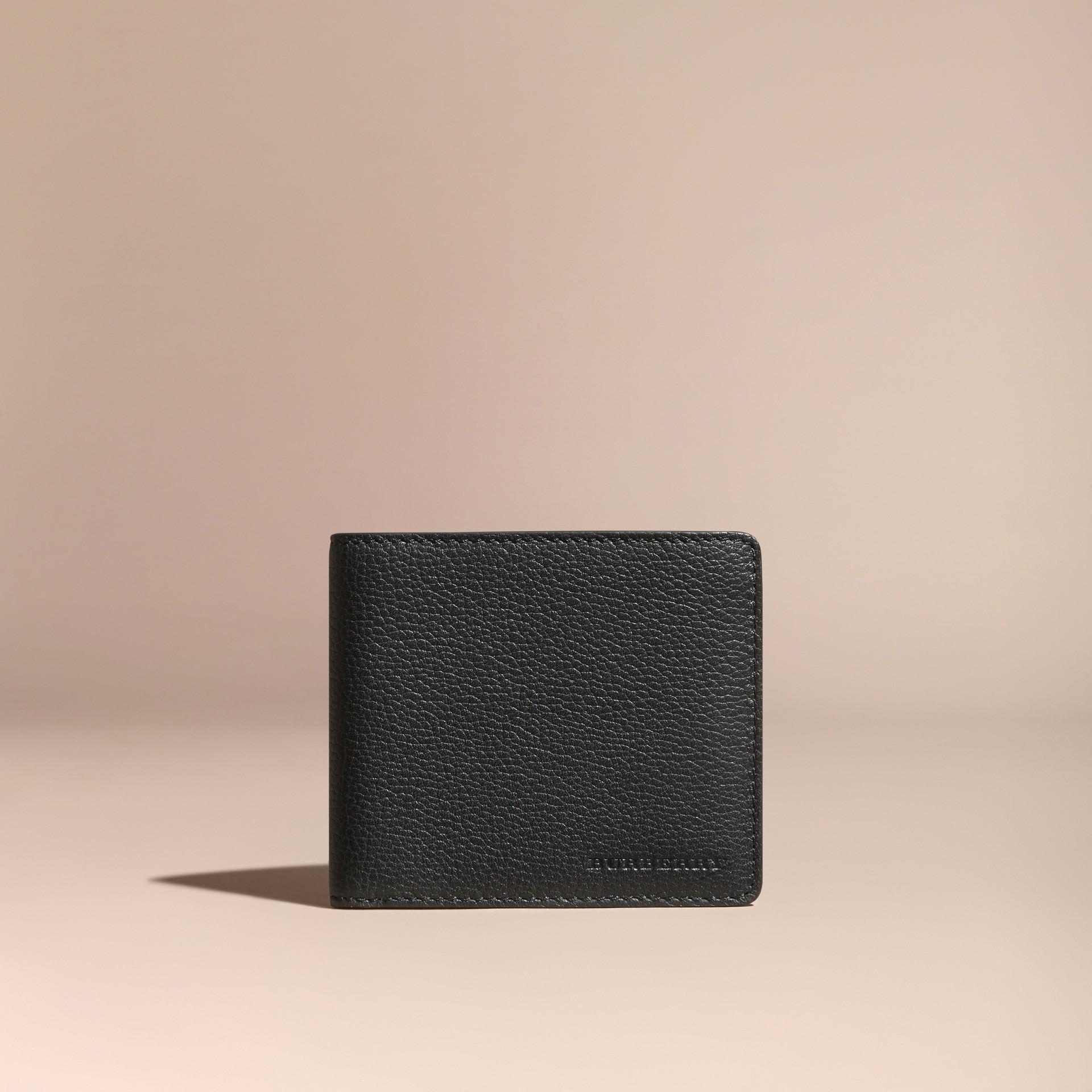 Черный Складной бумажник из кожи Черный - изображение 6