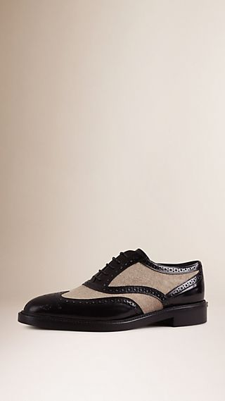 Leather and Linen Wingtip Brogues