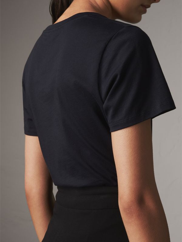 Printed Cotton T-shirt in True Navy - Women | Burberry Hong Kong - cell image 2