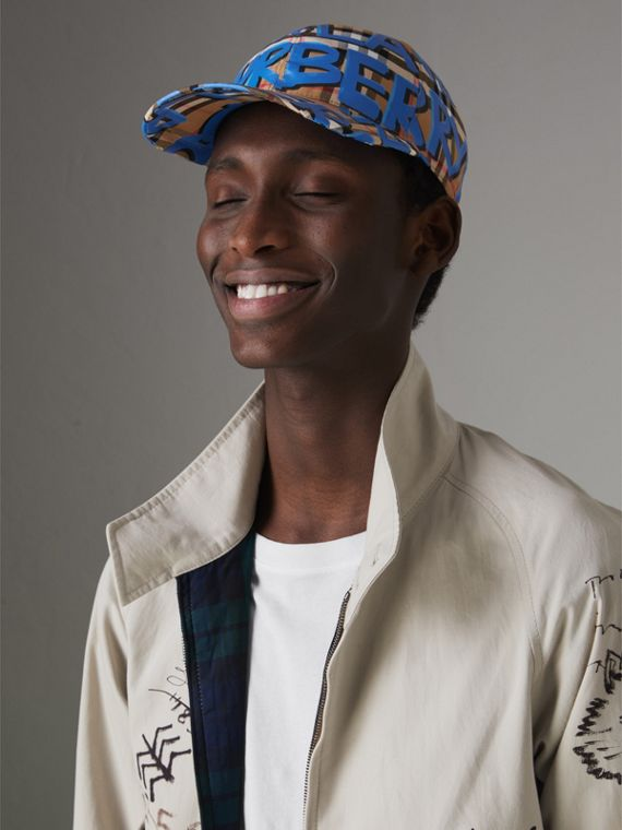 Graffiti Print Vintage Check Baseball Cap in Blue | Burberry Australia - cell image 3