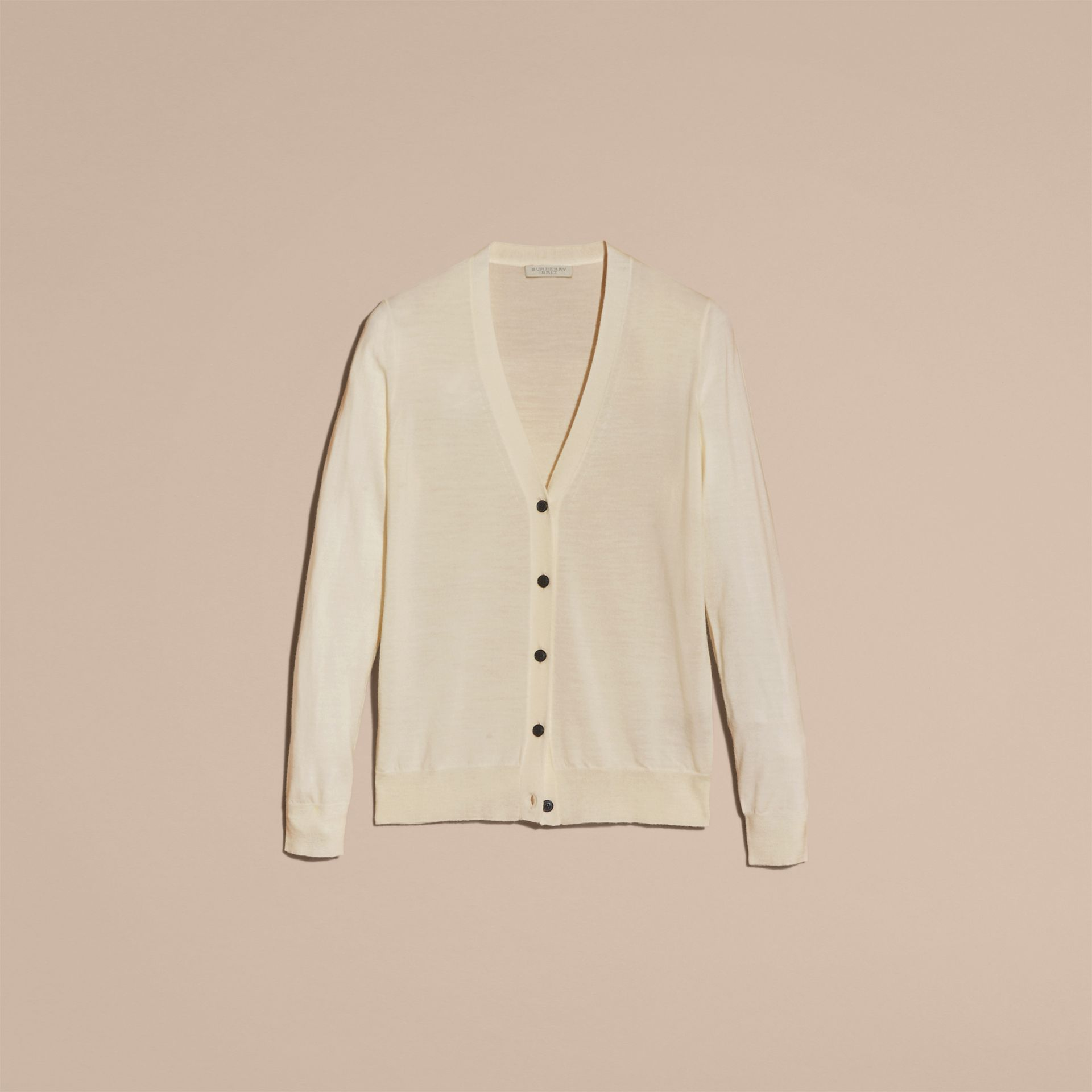 Check Detail Merino Wool Cardigan in Natural White - gallery image 4