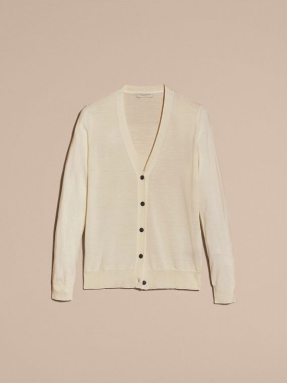 Check Detail Merino Wool Cardigan in Natural White - cell image 3
