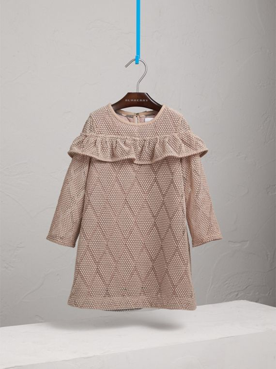 Ruffle Detail Diamond Macramé Lace A-line Dress in Pale Ash Rose