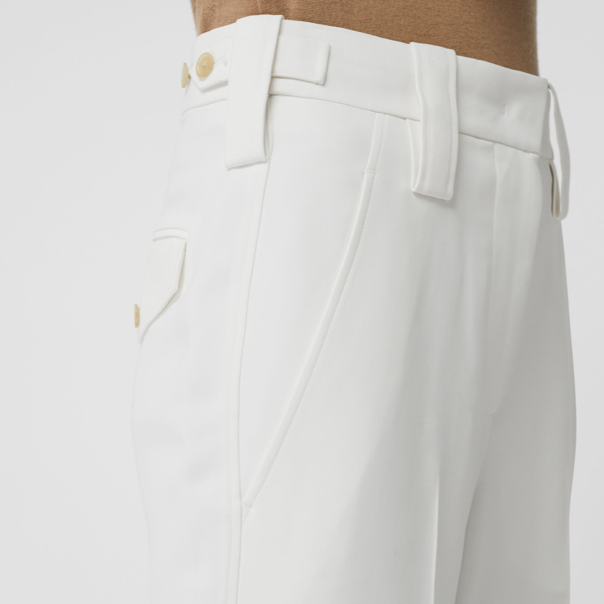 Straight Fit Silk Wool Cargo Trousers in Natural White - Women | Burberry - gallery image 1