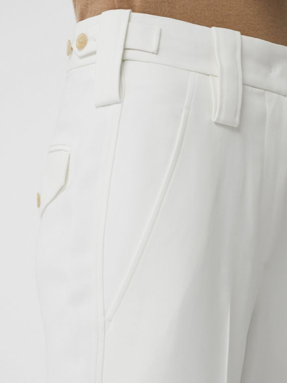 Straight Fit Silk Wool Cargo Trousers in Natural White - Women | Burberry United Kingdom - cell image 1