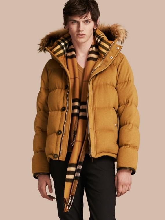 Down-filled Cashmere Jacket with Detachable Fur Trim