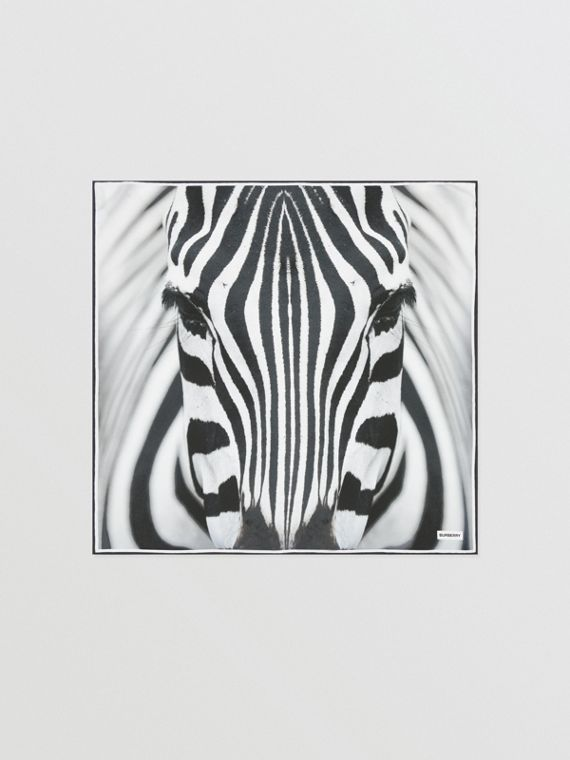 Zebra Print Silk Small Square Scarf in Monochrome