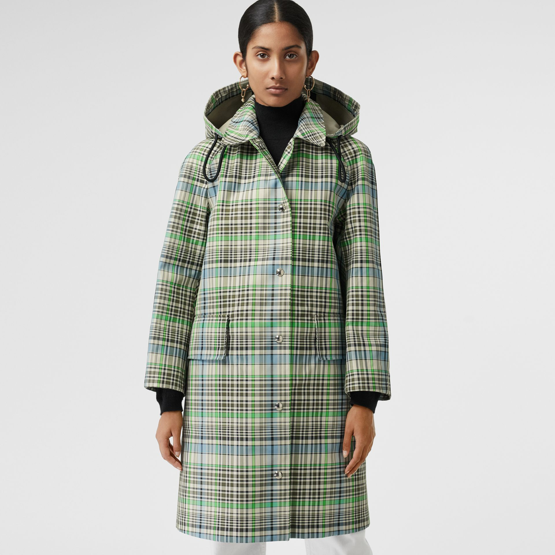 Detachable Hood Check Bonded Cotton Car Coat in Tourmaline Green - Women | Burberry United Kingdom - gallery image 5