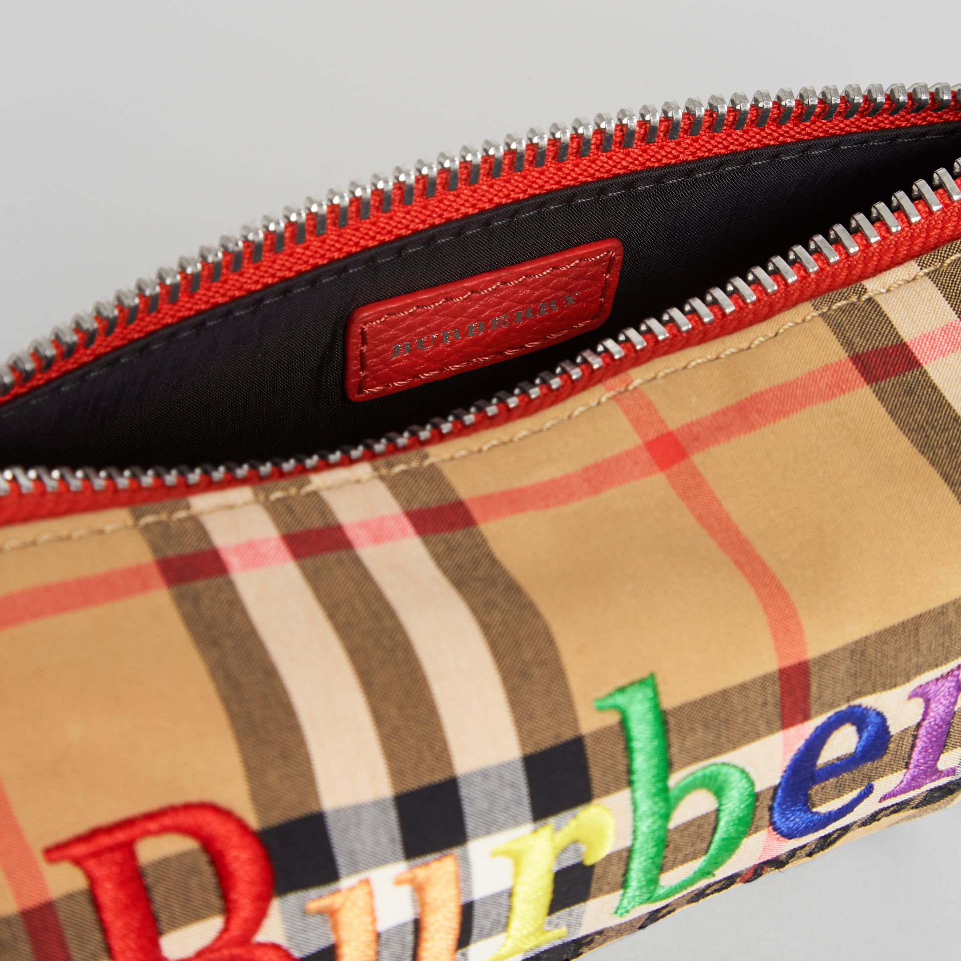 Embroidered Archive Logo Vintage Check Pencil Case in Antique Yellow | Burberry Singapore - gallery image 3