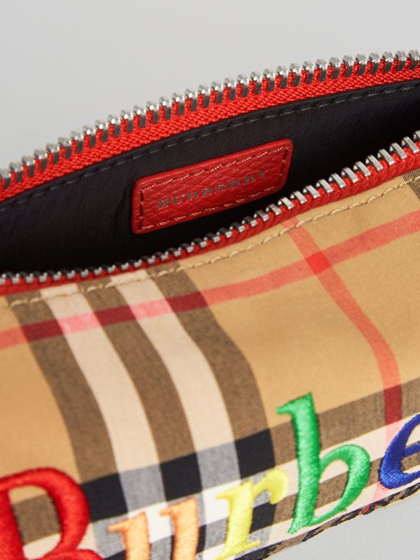 Embroidered Archive Logo Vintage Check Pencil Case in Antique Yellow | Burberry Singapore - cell image 3