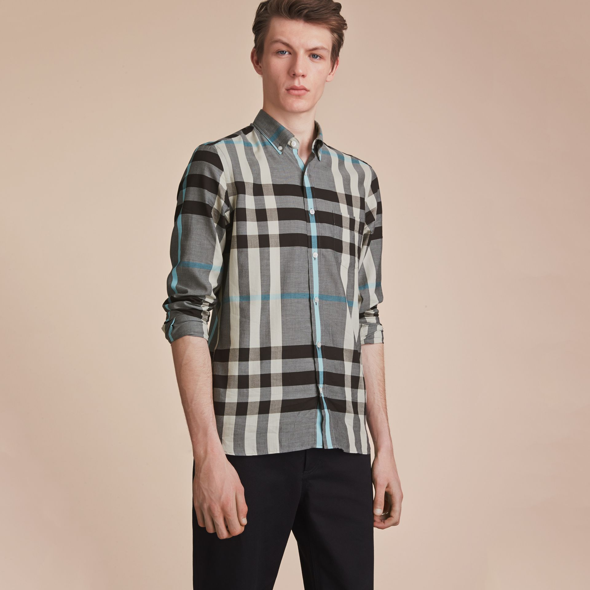 Button-down Collar Check Cotton Poplin Shirt in Mist Grey - Men | Burberry - gallery image 6