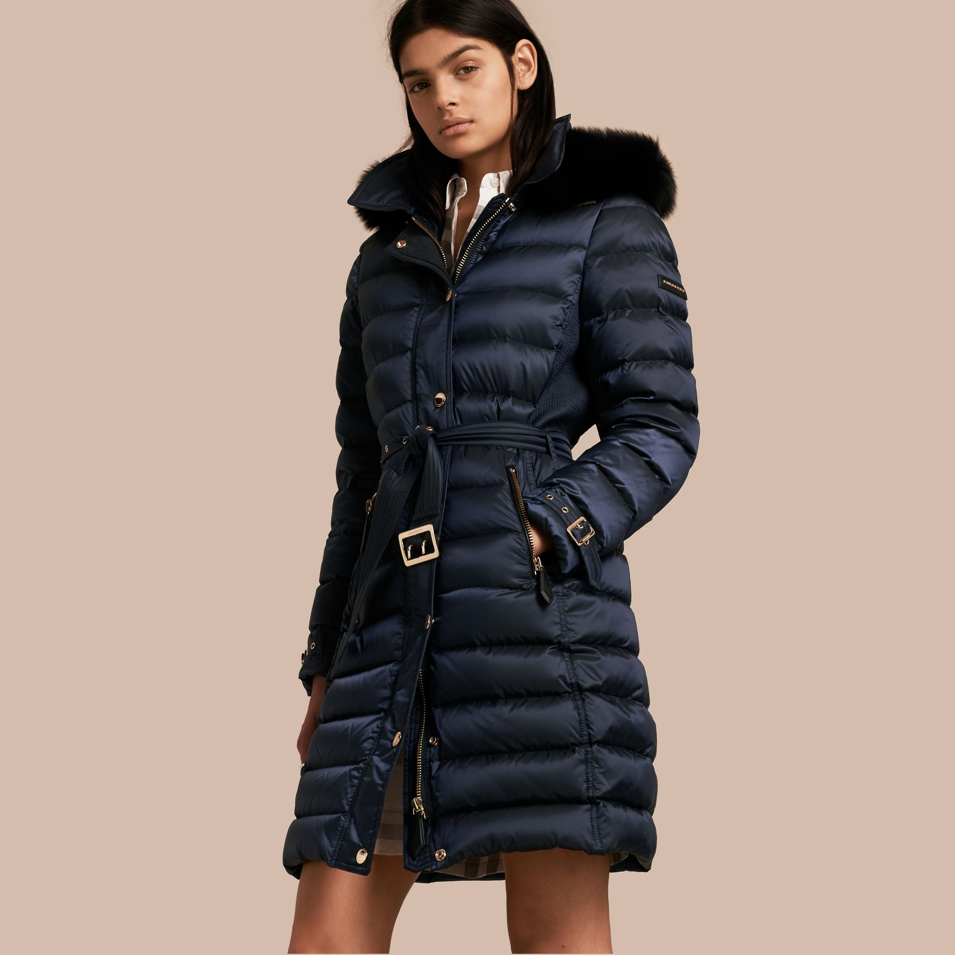 Down-filled Coat with Fox Fur Trim Hood in Navy - Women | Burberry - gallery image 7