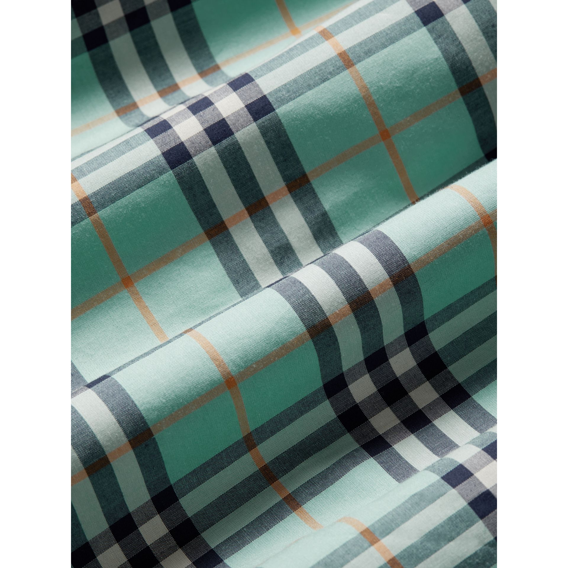 Tie Detail Check Cotton Dress in Bright Aqua - Girl | Burberry - gallery image 1