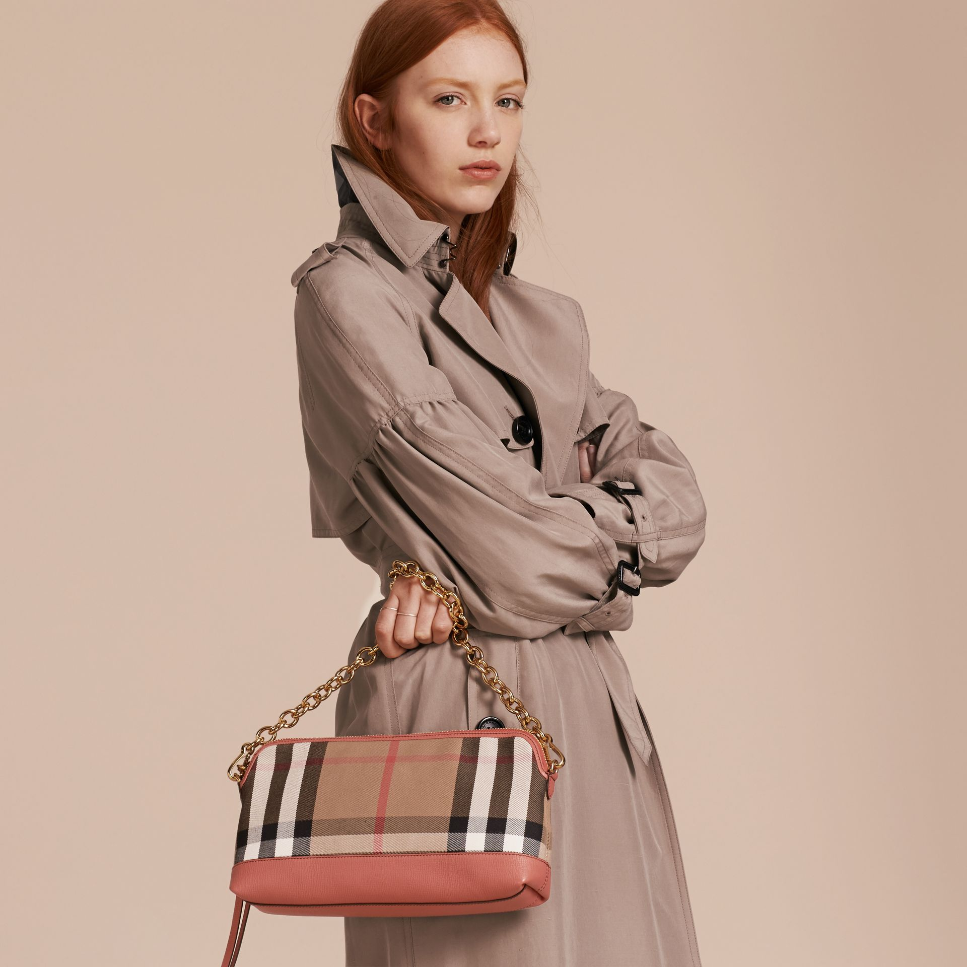 House Check and Leather Clutch Bag in Cinnamon Red - Women | Burberry - gallery image 4